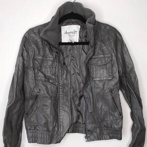 Grey Leather Moto Jacket